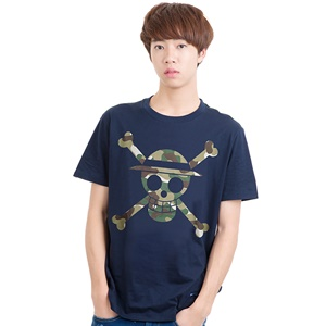 DOP-903-NV-L Tees OP Military Icon Luffy กรม